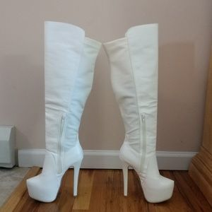 bfeca9bde9d41 Over the Knee White Boots by Pazzle